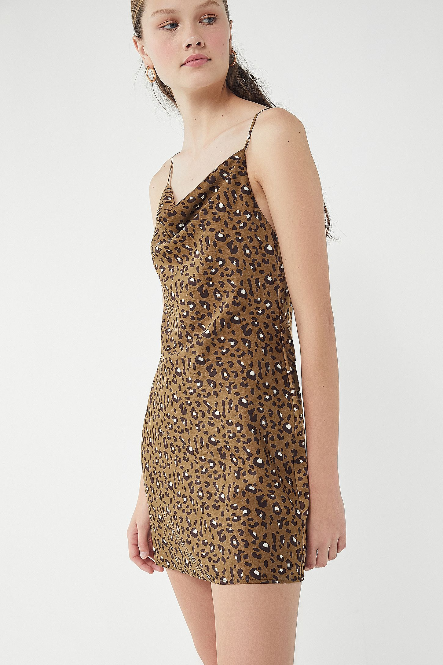 cdc0950168 Slide View  4  UO Mallory Leopard Print Cowl Neck Slip Dress