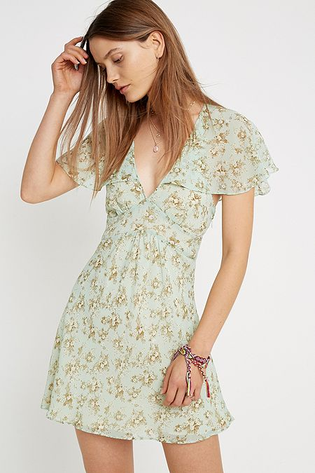 9de048fdbd UO Stargazer Green Floral Lace-Up Back Mini Dress