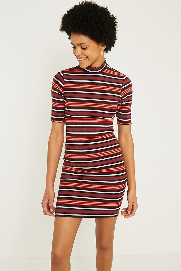 c3d0cfba543 UO Shelly Lettuce-Edge Striped Turtleneck Dress