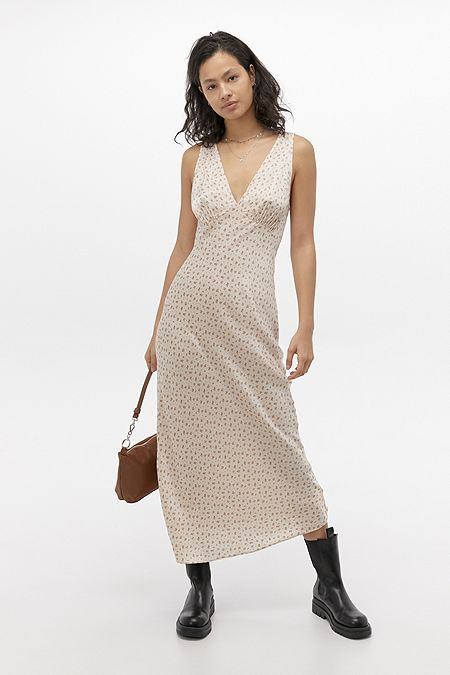 UO Kay Floral Slip Midi Dress