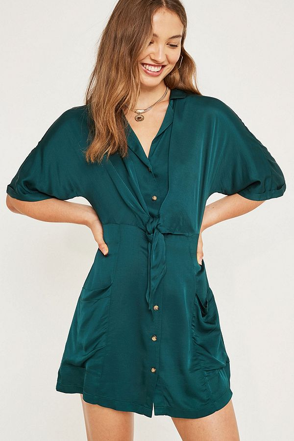 e19bcbf6ccad7b UO Satin Tie-Front Shirt Dress
