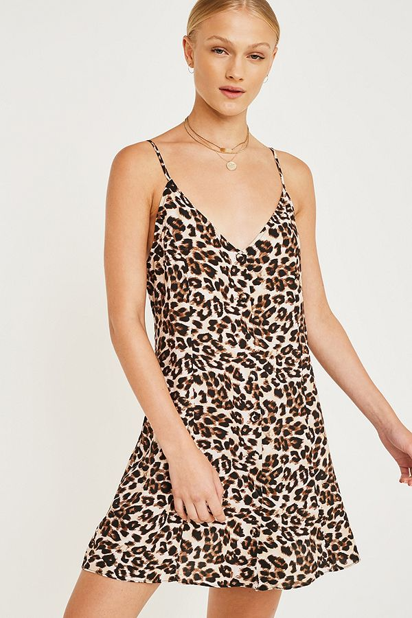 5f29c62e7d0 UO Demi Leopard Print Button-Through Slip Dress | Urban Outfitters UK