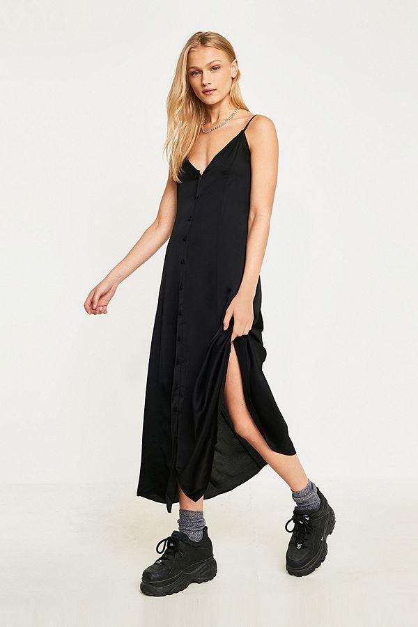 5e89ab58c67 UO Demi Button-Through Midi Slip Dress | Urban Outfitters UK