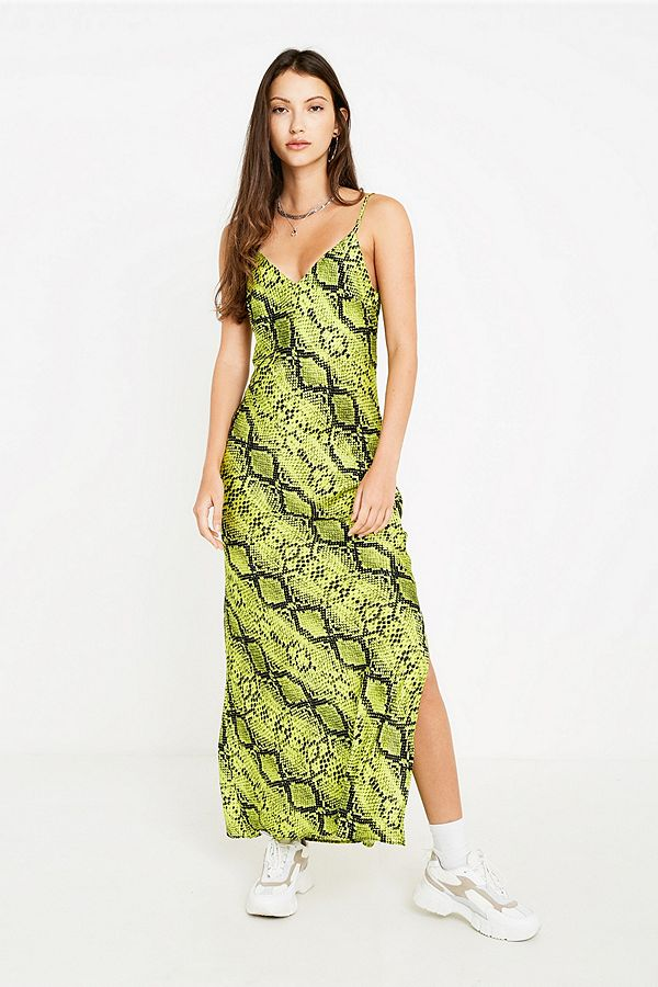 dfc7143b9675 UO Lime Green Snake Print Slip Dress | Urban Outfitters UK