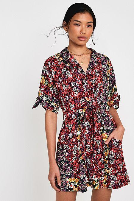 1b767d1e06e5 UO Waikiki Mixed Floral Wrap Mini Dress