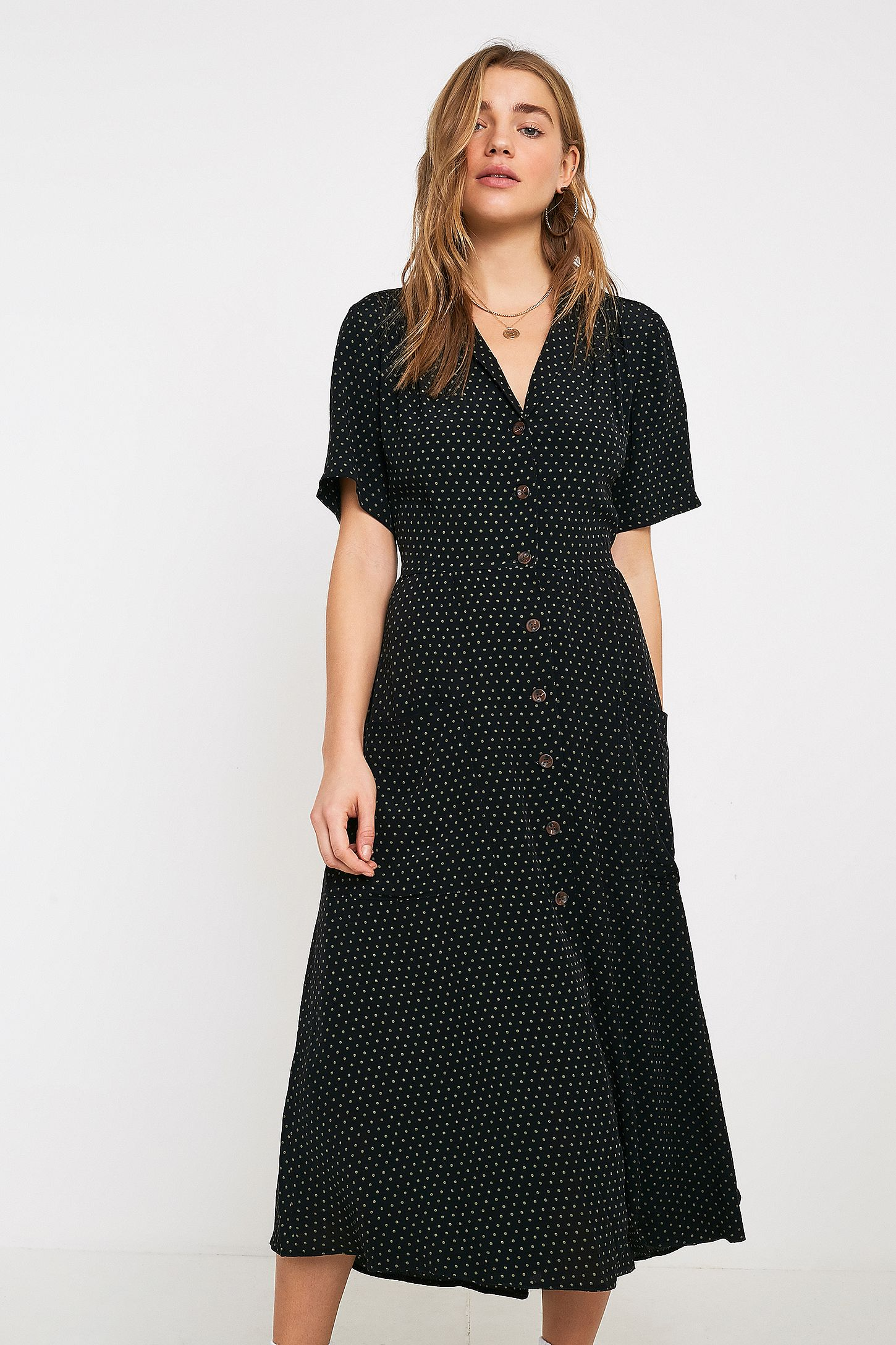 ebd4ae0f1b47 Slide View  4  UO Pindot Midi Shirt Dress