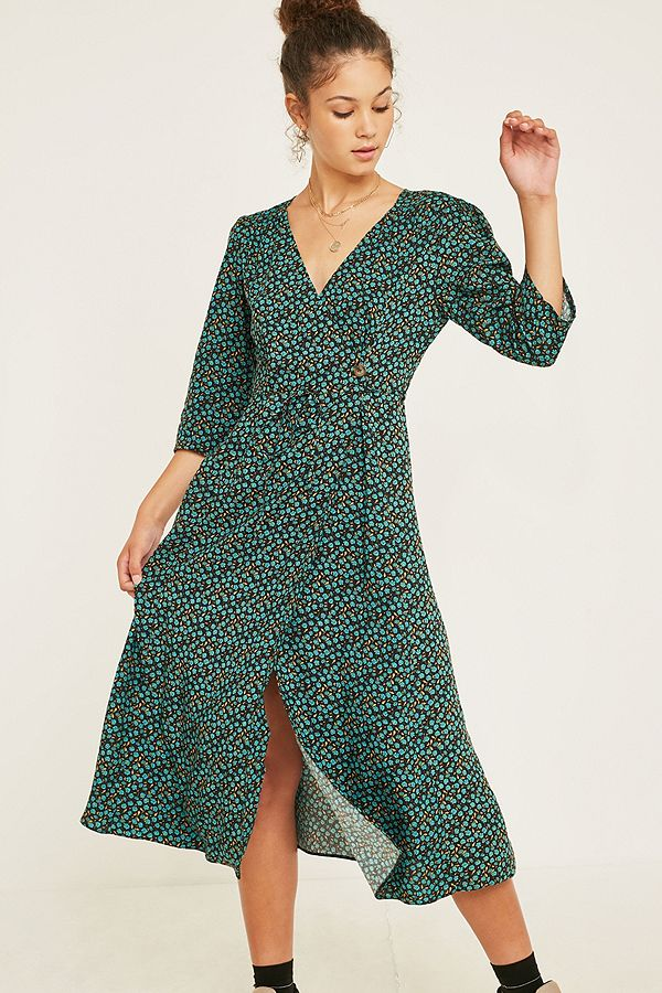f693b6fb4b7d UO Floral Long-Sleeve Side-Button Midi Dress