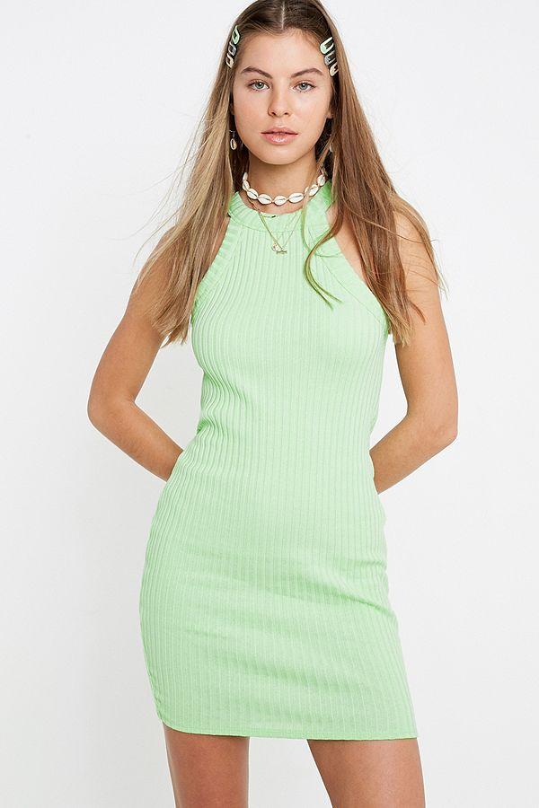 91c56be264 UO Premium Round Neck Ribbed Mini Dress