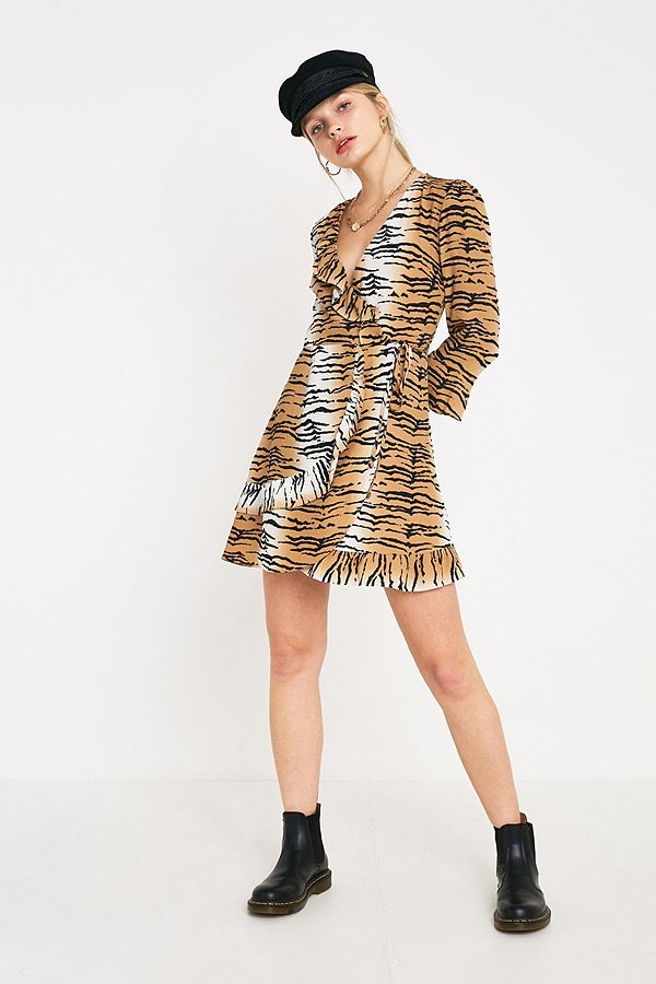 UO Tiger Print Frill Wrap Dress