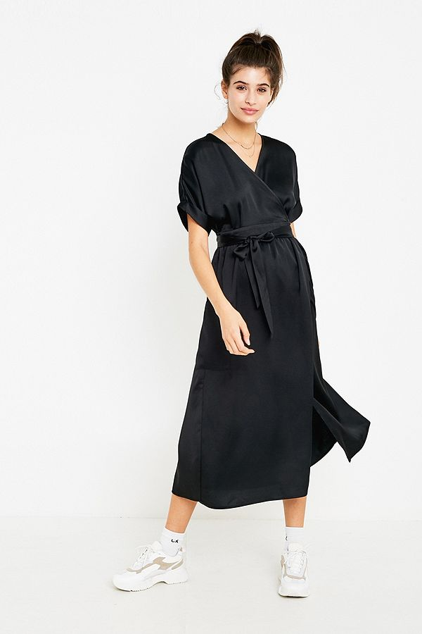 2b0cbc8a97 UO Gabrielle Black Satin Midi Wrap Dress