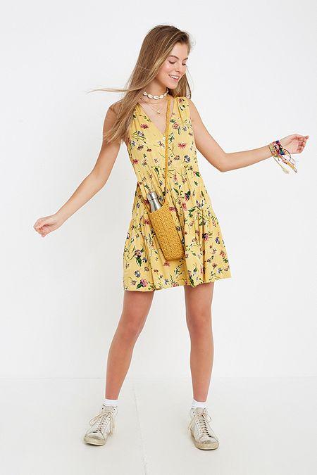 45bd1ed591c950 UO Floral Print Tiered Mini Dress