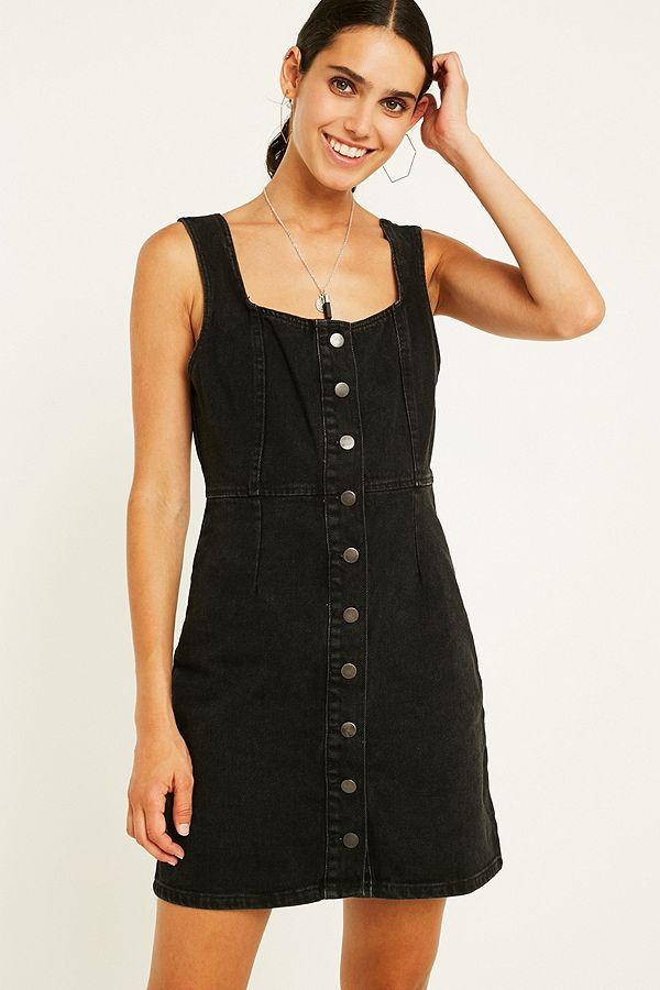 3313804d6d UO Black Button-Through Denim Mini Dress | Urban Outfitters UK