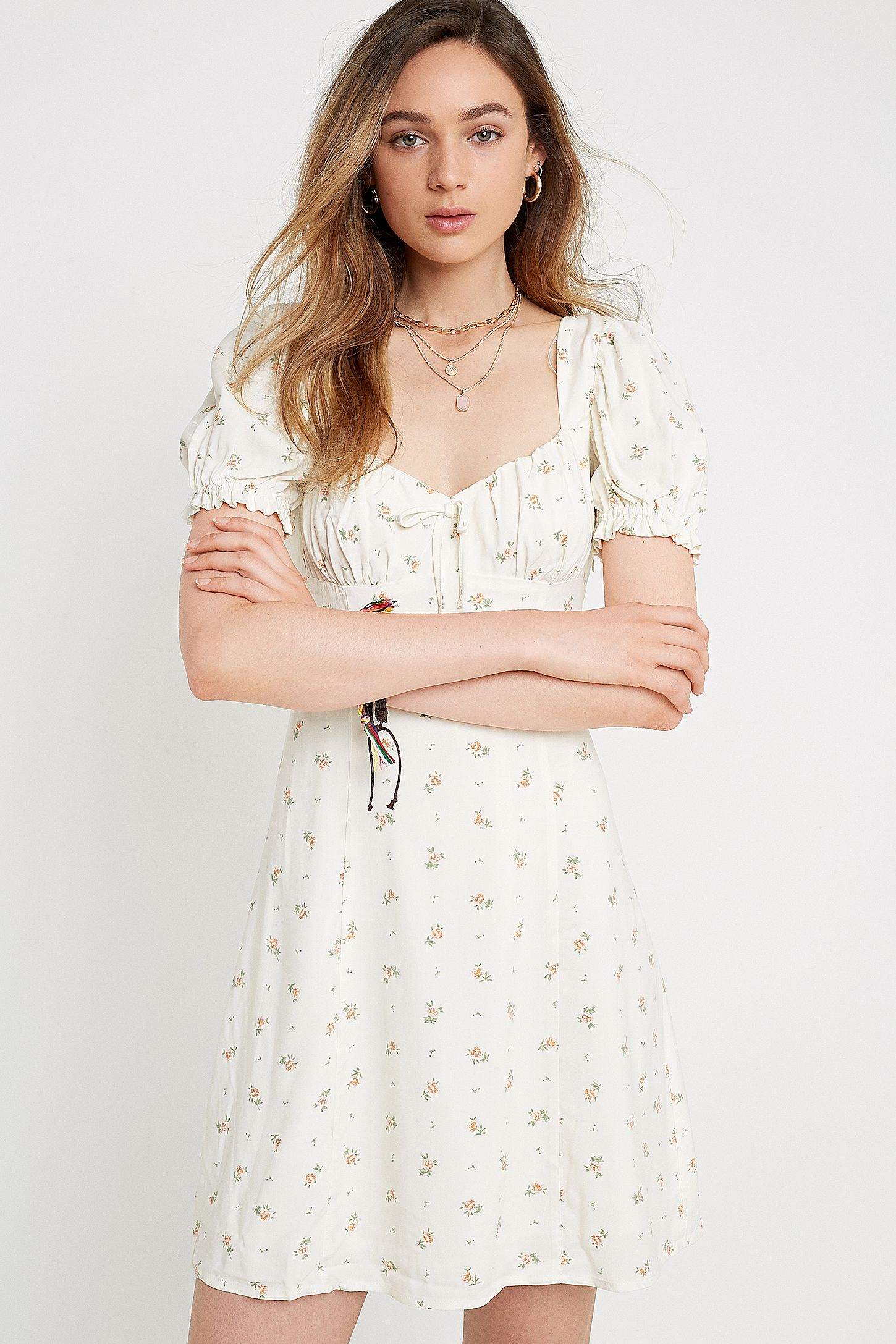 5f46f0a5415b UO Cassia Ivory Ditsy Floral Mini Dress | Urban Outfitters UK