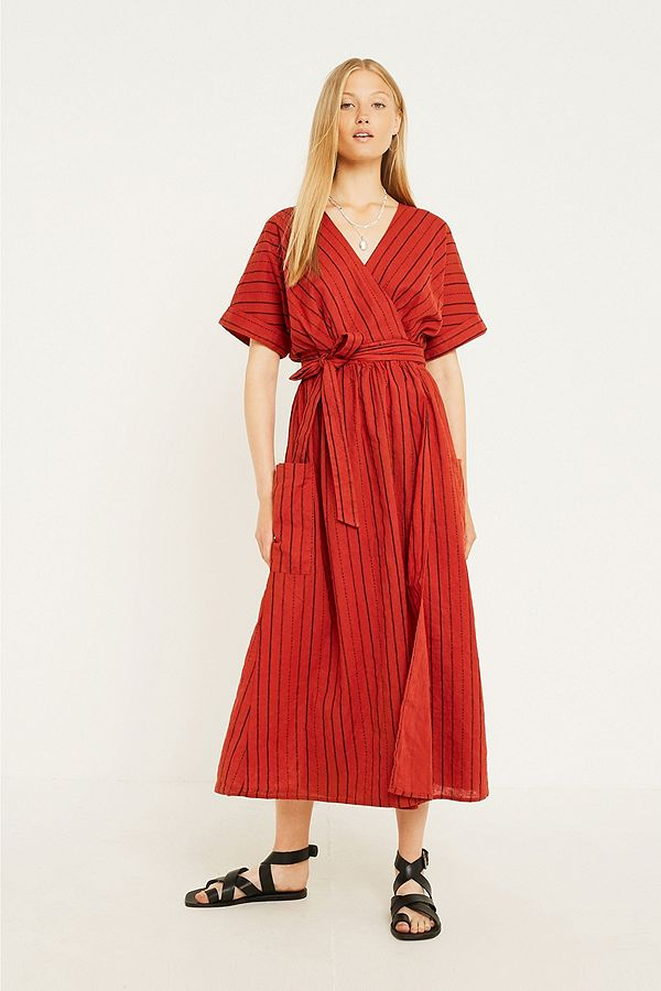 fc783a6930 UO Linen Wrap Rust Midi Dress