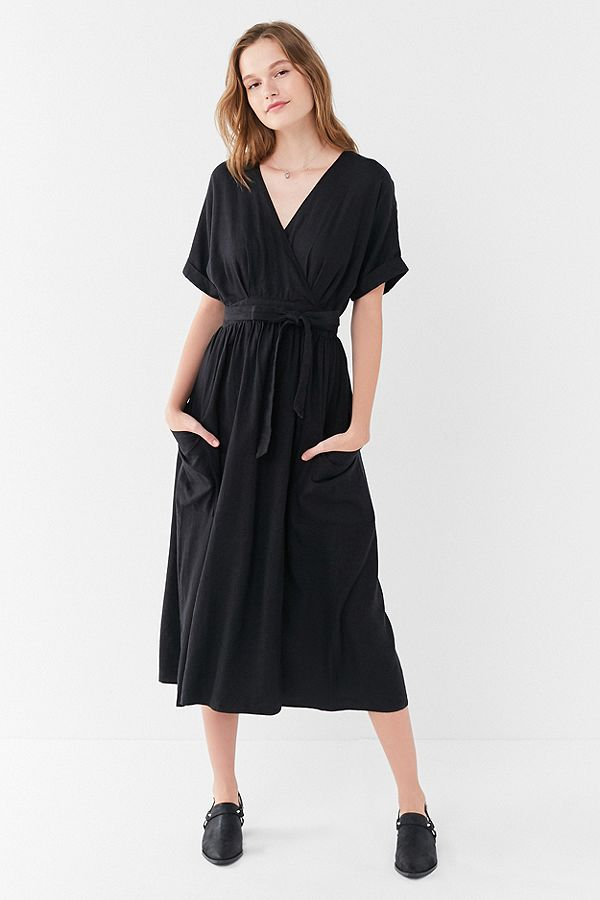 UO Gabrielle Black Linen Midi Wrap Dress