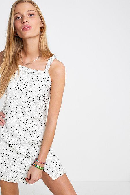 8ec6743b3f2 UO Wren Dotted Linen Ruffle Mini Dress