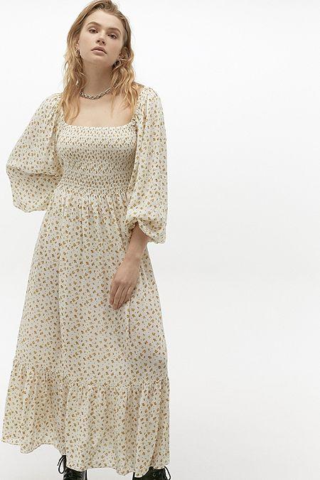 UO Odila Smocked Midi Dress