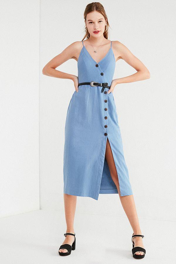 b0a8b27c26 UO Amber Blue Linen Button-Through Midi Dress