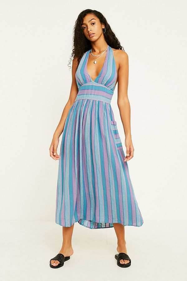 2a44c60f4fa3 UO Betsey Mermaid Stripe Halter Midi Dress | Urban Outfitters UK