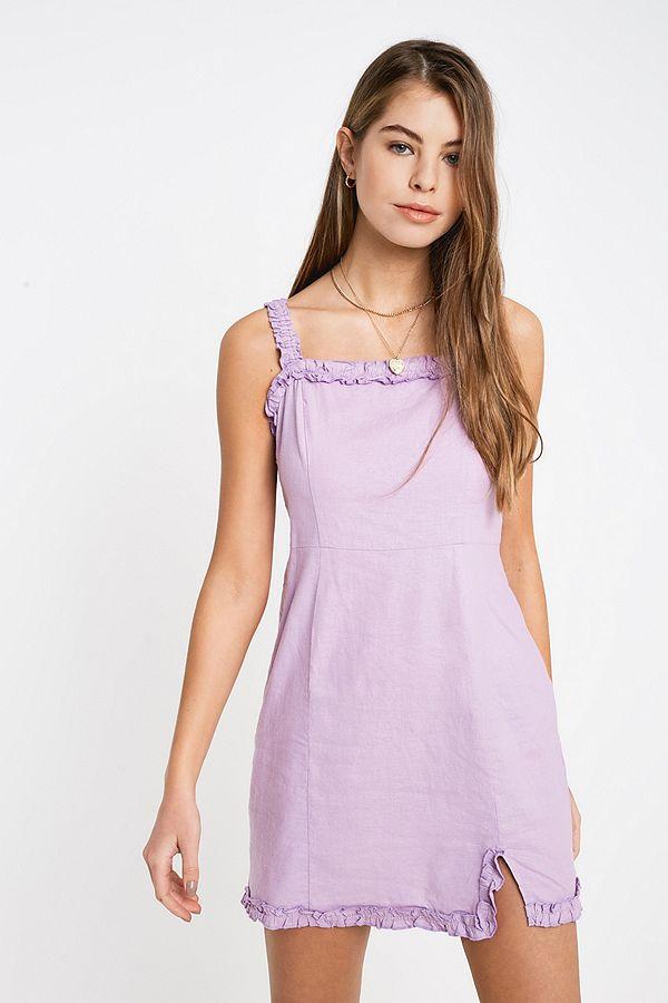 4ab2d8de1bb Slide View  1  UO Wren Lilac Linen Ruffle Mini Dress