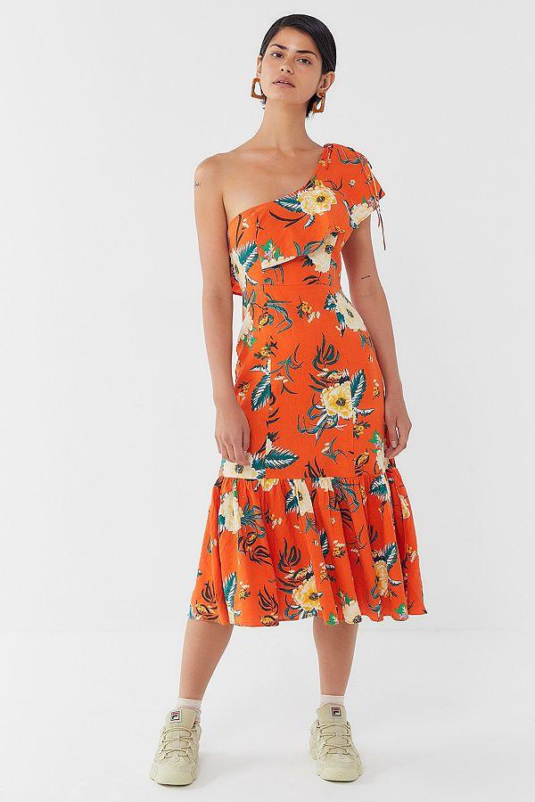 4fc24f5f4db2 Slide View: 1: UO Carmen Orange Floral Linen One-Shoulder Ruffle Midi Dress