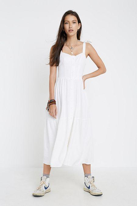 693b460ab1f4 UO Positano White Linen Tie-Shoulder Midi Dress