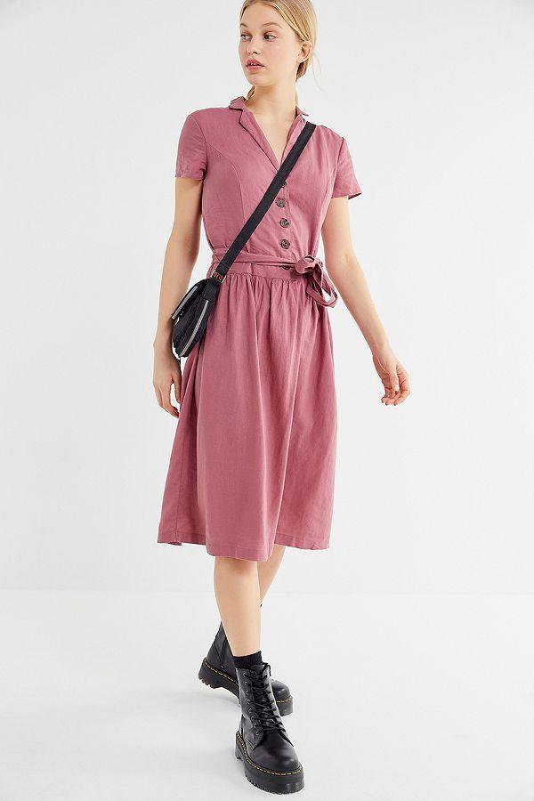 ab3b72e5c65 UO Natalie Mauve Linen Belted Shirt Dress | Urban Outfitters UK