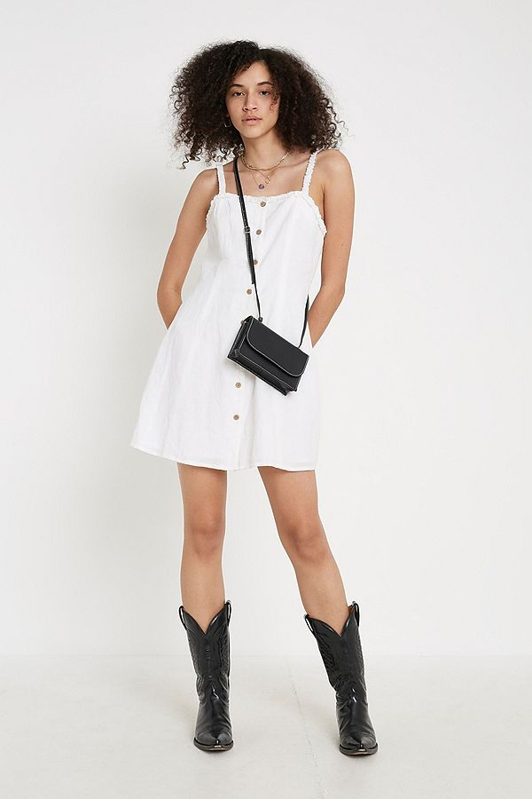 Uo Fifi Linen Mini Sleeveless Dress by Urban Outfitters