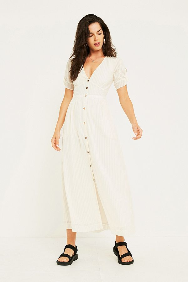 speical offer many fashionable best sale UO Maise White Button-Through Midi Dress | Urban Outfitters UK