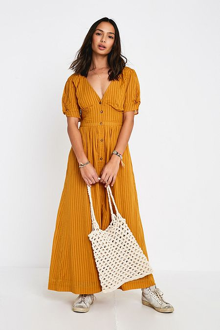 d736964a80 UO Maisie Mustard Stripe Midi Dress