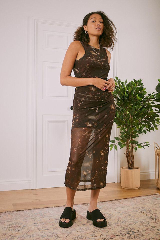 UO Brown Tie-Dye Mesh Midi Dress