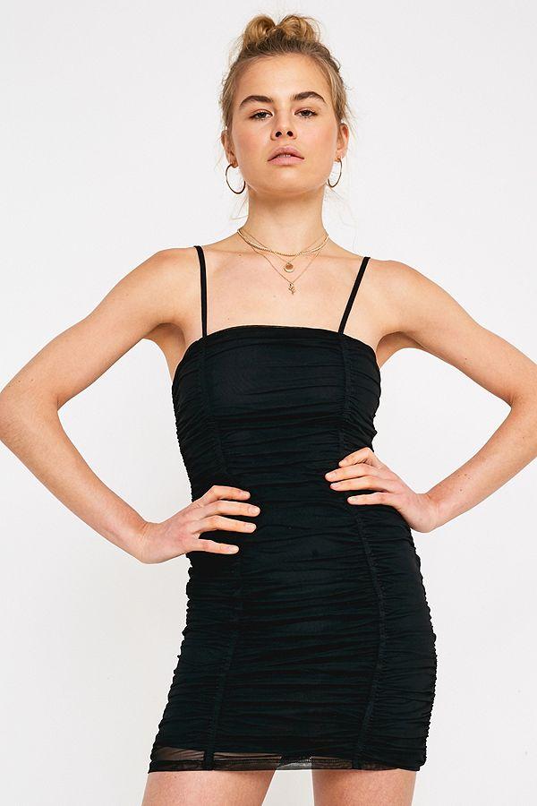 9c3e55fc222 UO Black Ruched Mesh Mini Dress