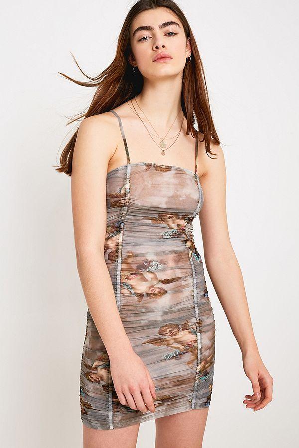 0883a936b51 UO Cherub Print Ruched Mesh Mini Dress
