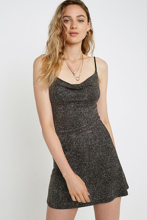 Uo Glitter Swirl Cowl Neck Mini Dress by Urban Outfitters