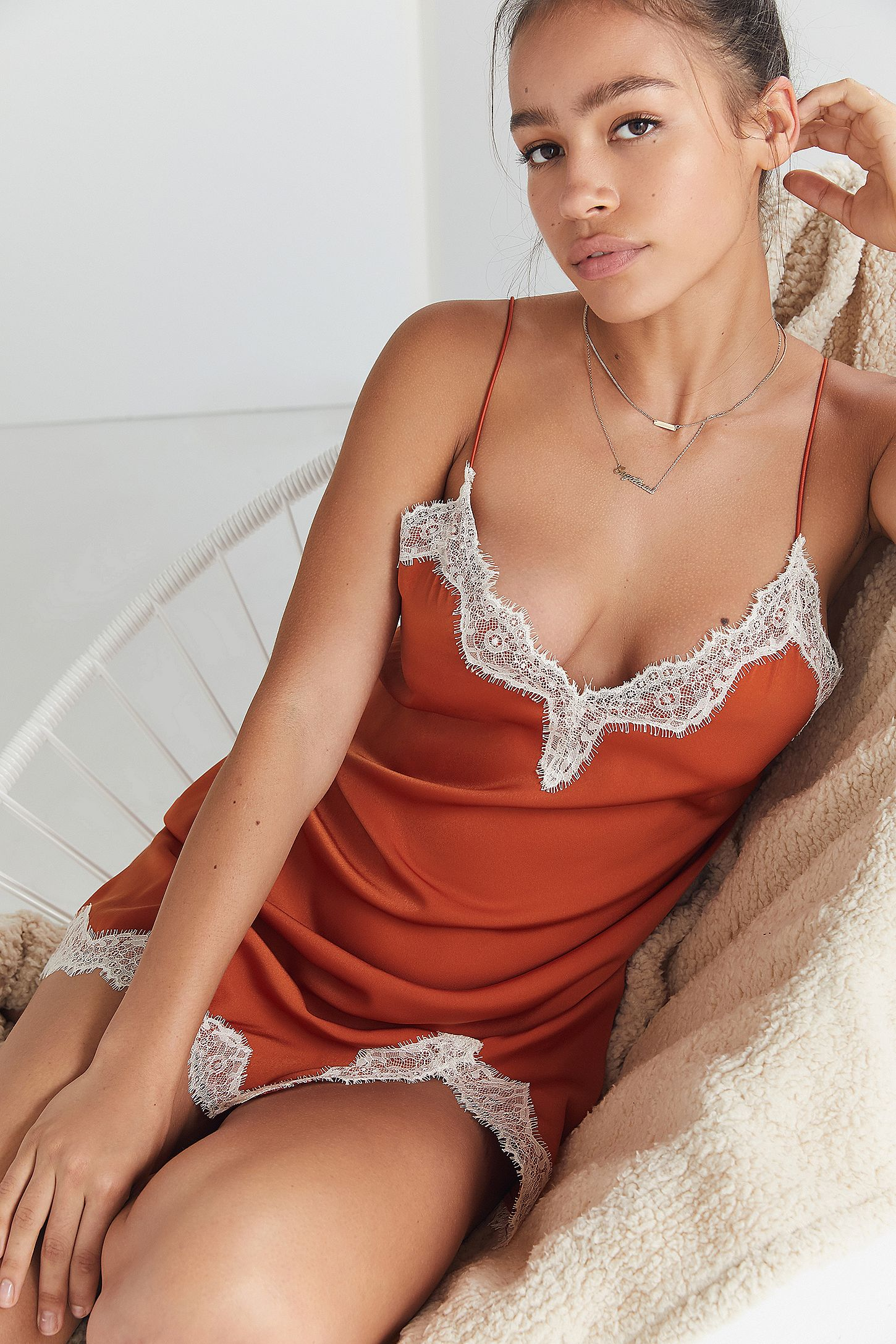 4fe12fd85972 Out From Under Orange Satin Slip Dress | Urban Outfitters UK