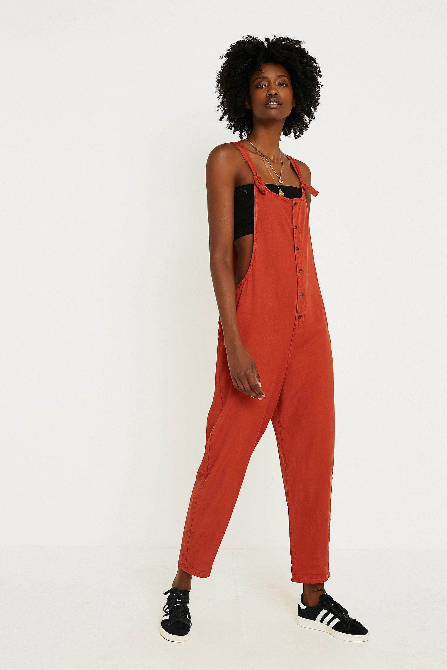 356d3d800069 UO Orange Shauny Dungaree Jumpsuit