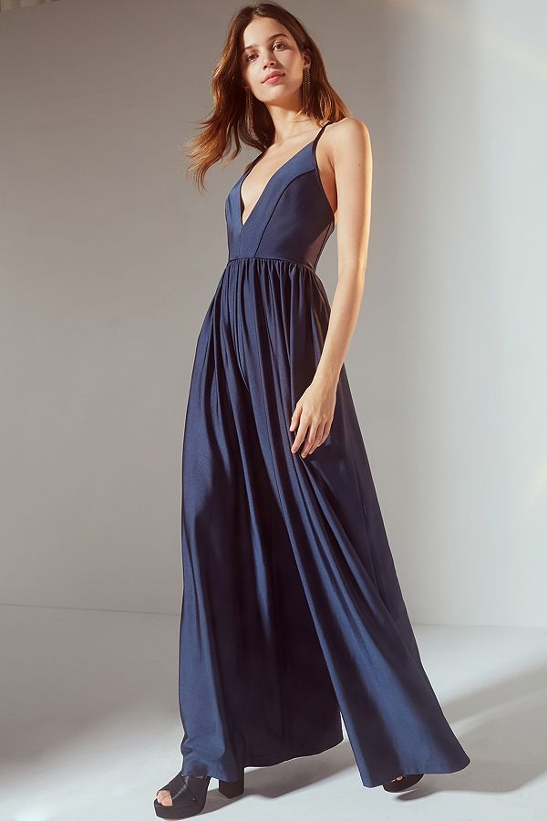 83dacf5d0f1 UO Gia Plunging Shimmer Wide-Leg Jumpsuit
