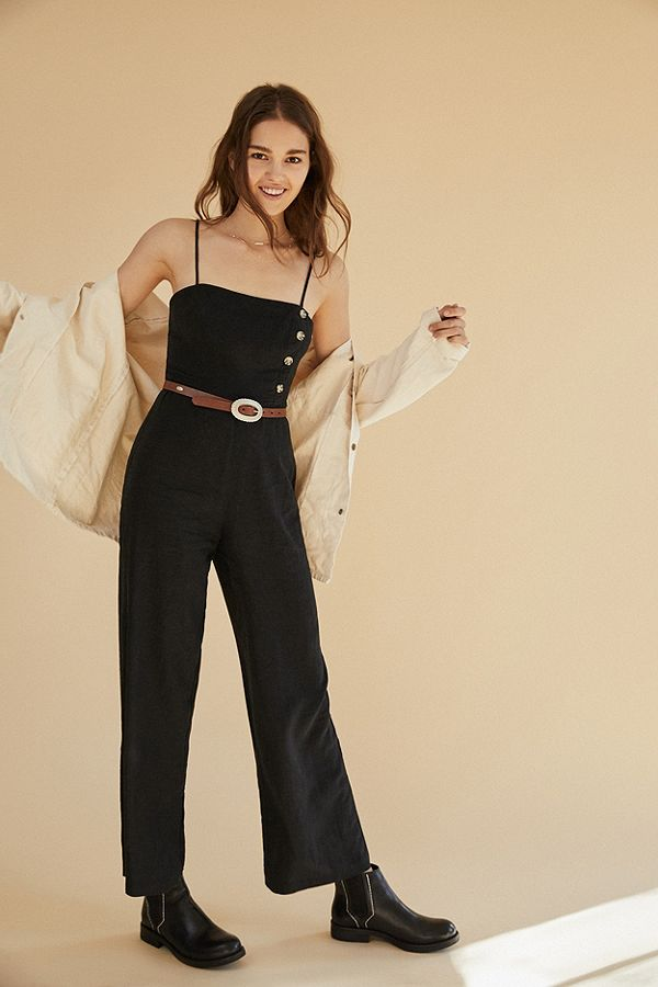 c6cd91a64629 UO Black Straight-Neck Linen Button-Down Jumpsuit