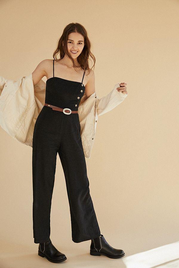 d095a82a487 UO Black Straight-Neck Linen Button-Down Jumpsuit