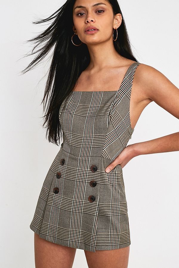 7e1c83615 UO Cassidy Checked Button-Front Playsuit | Urban Outfitters UK