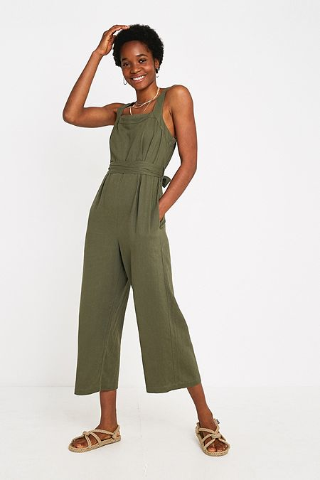 45eb937090a UO Emily Sarah Khaki Linen Jumpsuit