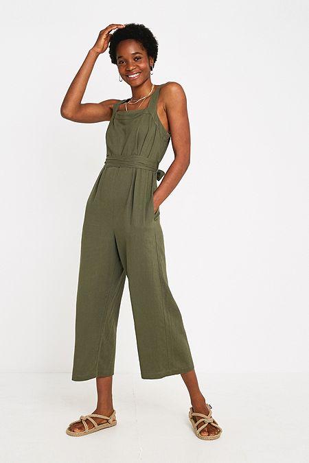 ba8005f7bbd UO Emily Sarah Khaki Linen Jumpsuit