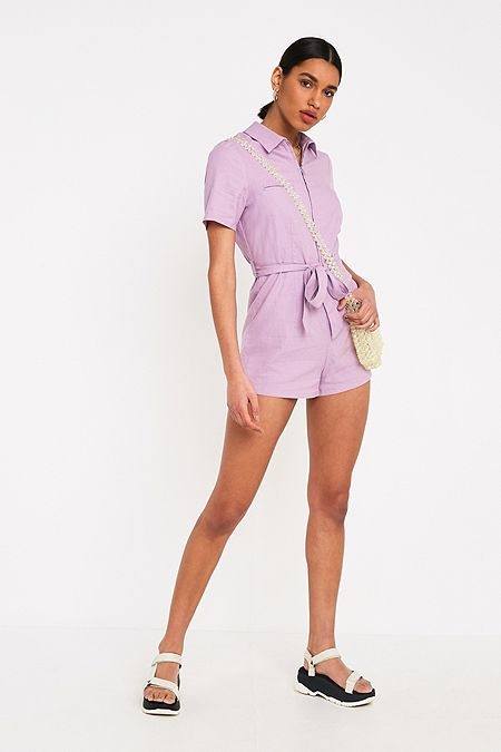 2be2caf5e025 UO Hey Sunshine Lilac Playsuit. Quick Shop