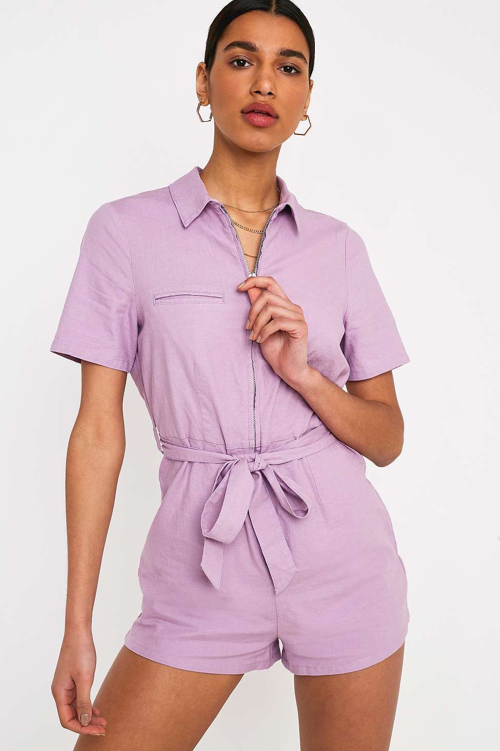 Slide View: 3: UO Hey Sunshine Lilac Playsuit