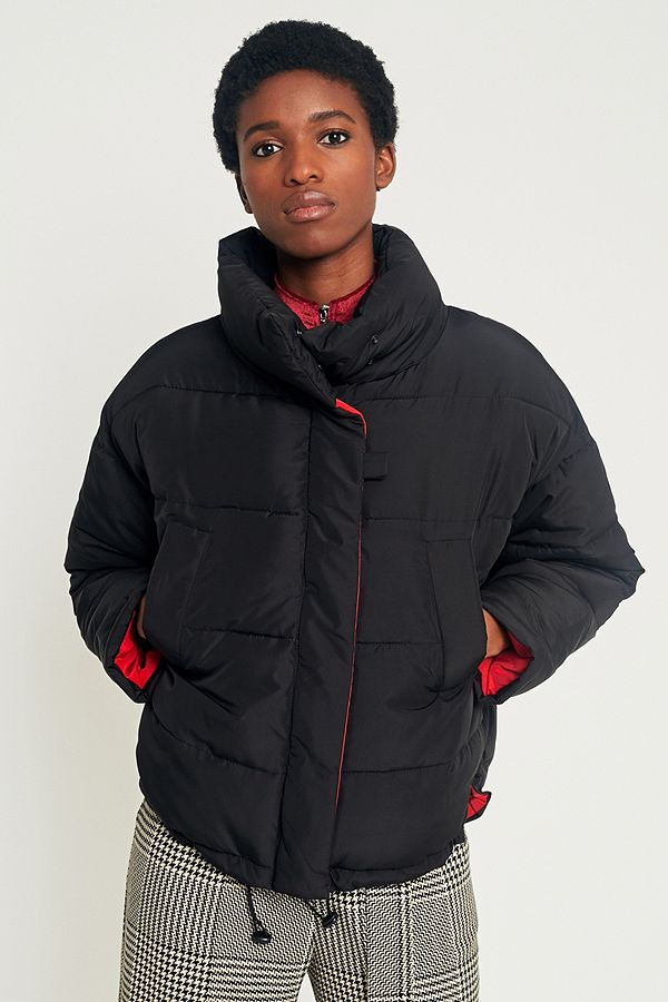 Light Before Dark Black with Contrasting Red Lining Pillow Puffer Jacket