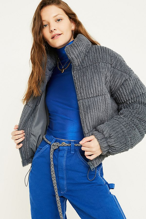 UO Charcoal Fluffy Corduroy Puffer Jacket | Urban ...