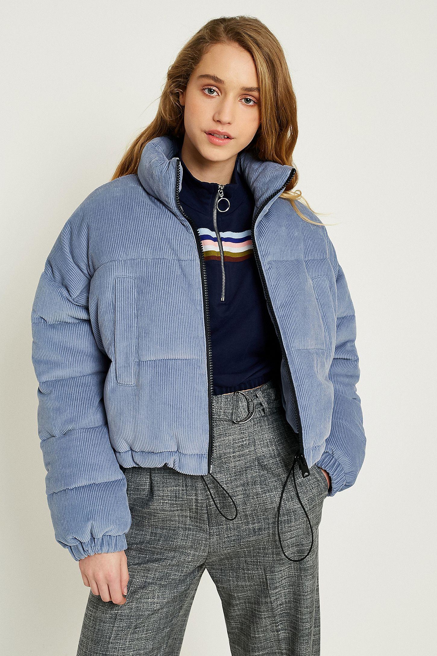 UO Blue Corduroy Cropped Puffer Jacket  a6b2456dd