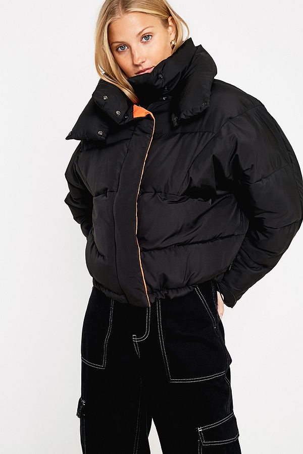 c7519d7ca7f7 UO Black and Orange Contrast Lined Pillow Puffer Jacket