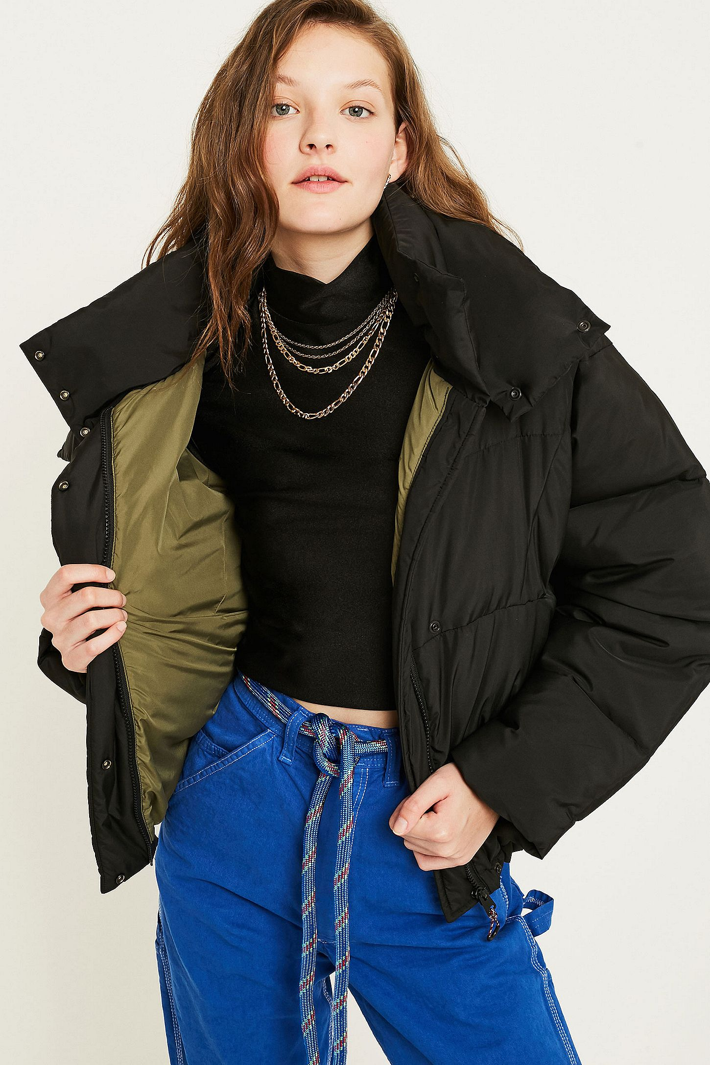 UO Black Contrast Lined Pillow Puffer Jacket