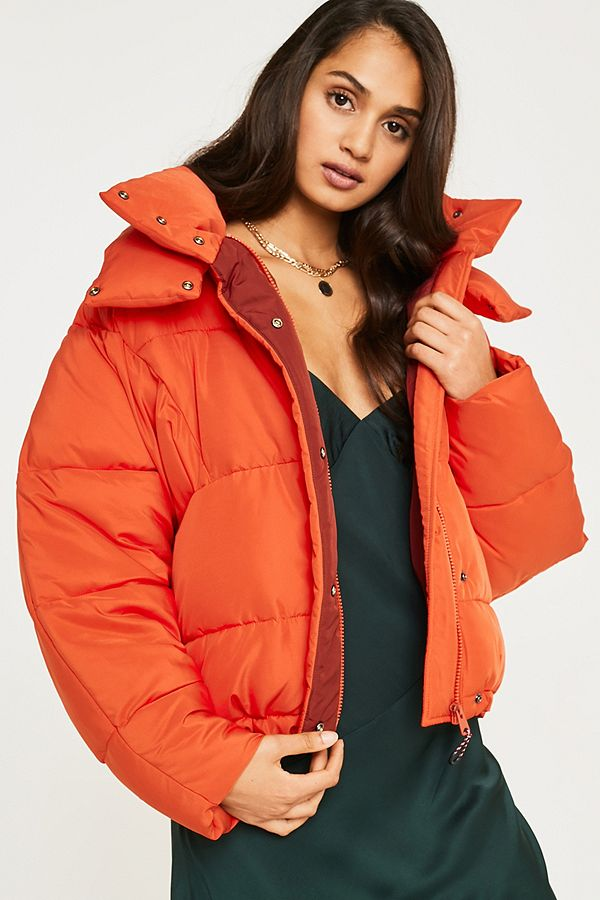 0ad7bb75a7dd UO Orange Contrast Lined Pillow Puffer Jacket